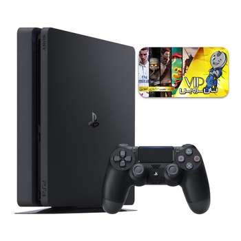 کنسول بازی سونی مدل Playstation 4 Slim کد CUH-2216A Region 2 ظرفیت 500 گیگابایت به همراه کارت نصب 10 عدد بازی