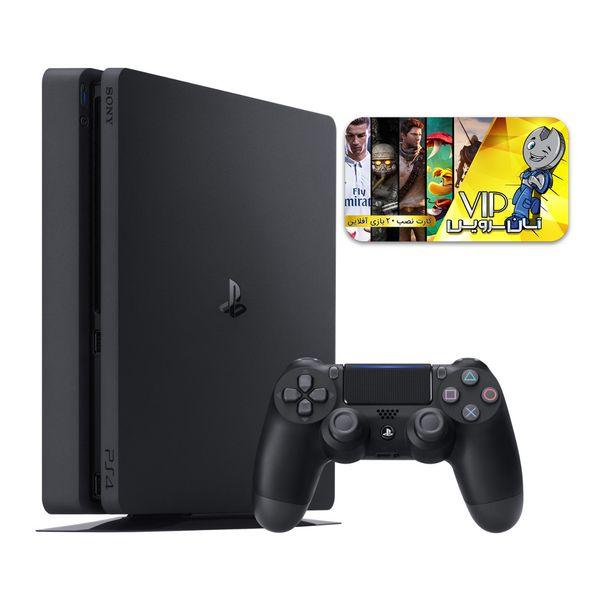 کنسول بازی سونی مدل Playstation 4 Slim کد CUH-2215B Region 2 ظرفیت 1 ترابایت به همراه کارت نصب 20 عدد بازی