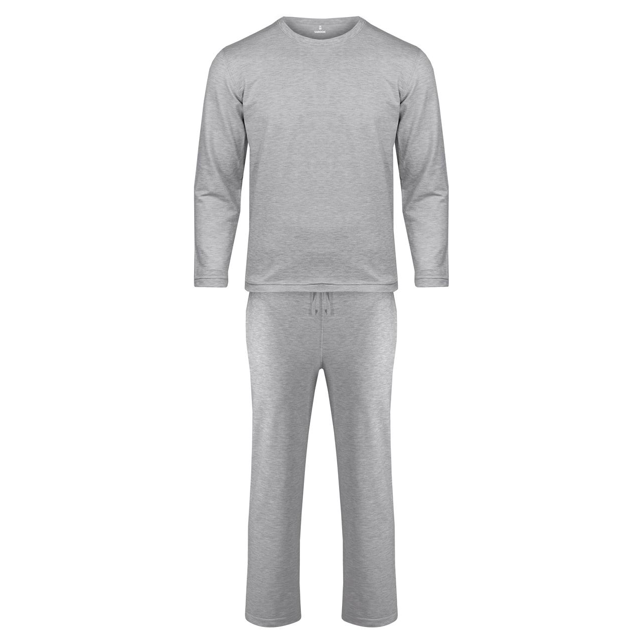 تصویر ست تی شرت و شلوار مردانه ساروک مدل کشمیر کد ملانژ سیر