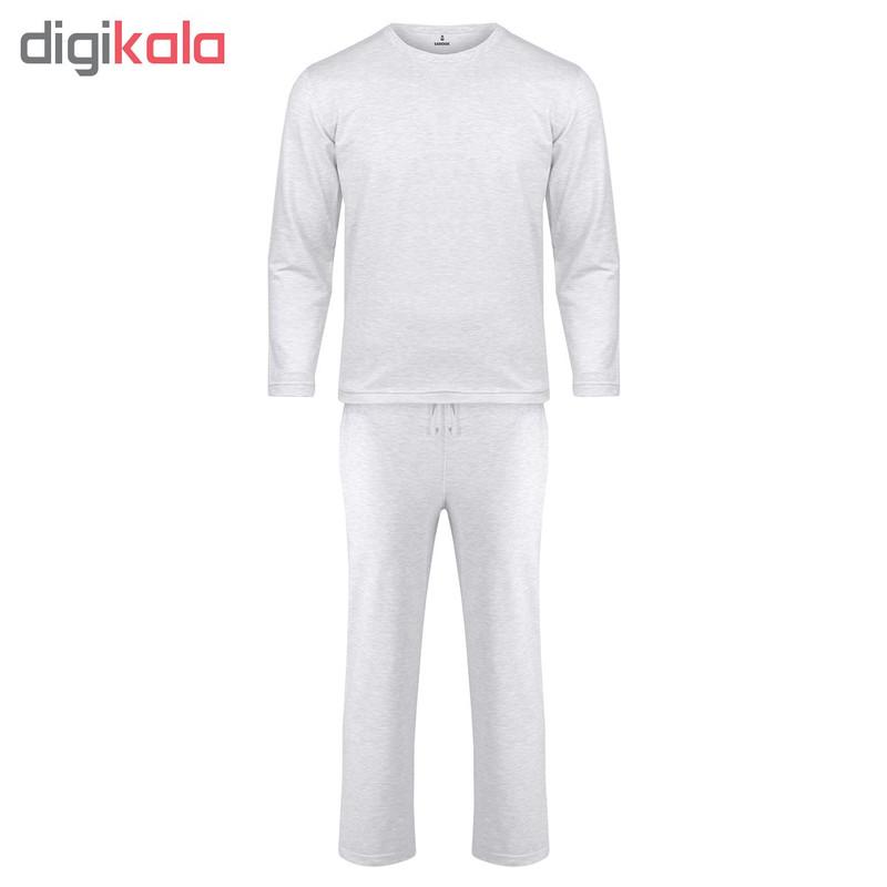 ست تی شرت و شلوار مردانه ساروک مدل کشمیر کد ملانژ روشن