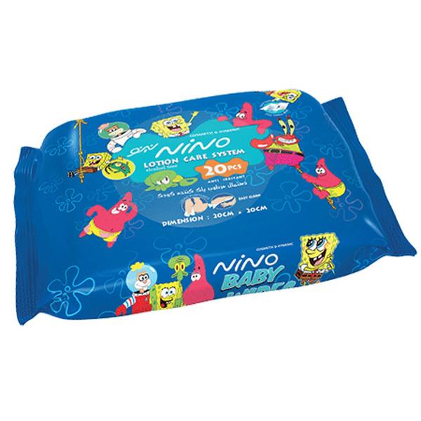 دستمال مرطوب پاک کننده کودک بستهای نینو مدل کارتونی - بسته 20 عددی