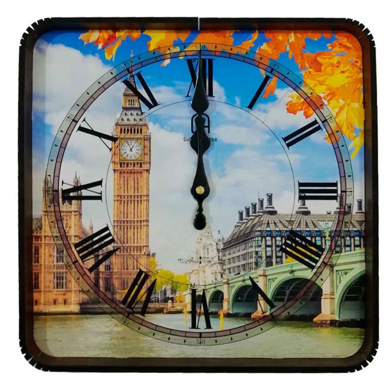 ساعت ديواری گلدن هاوس طرح برج كد 10010295