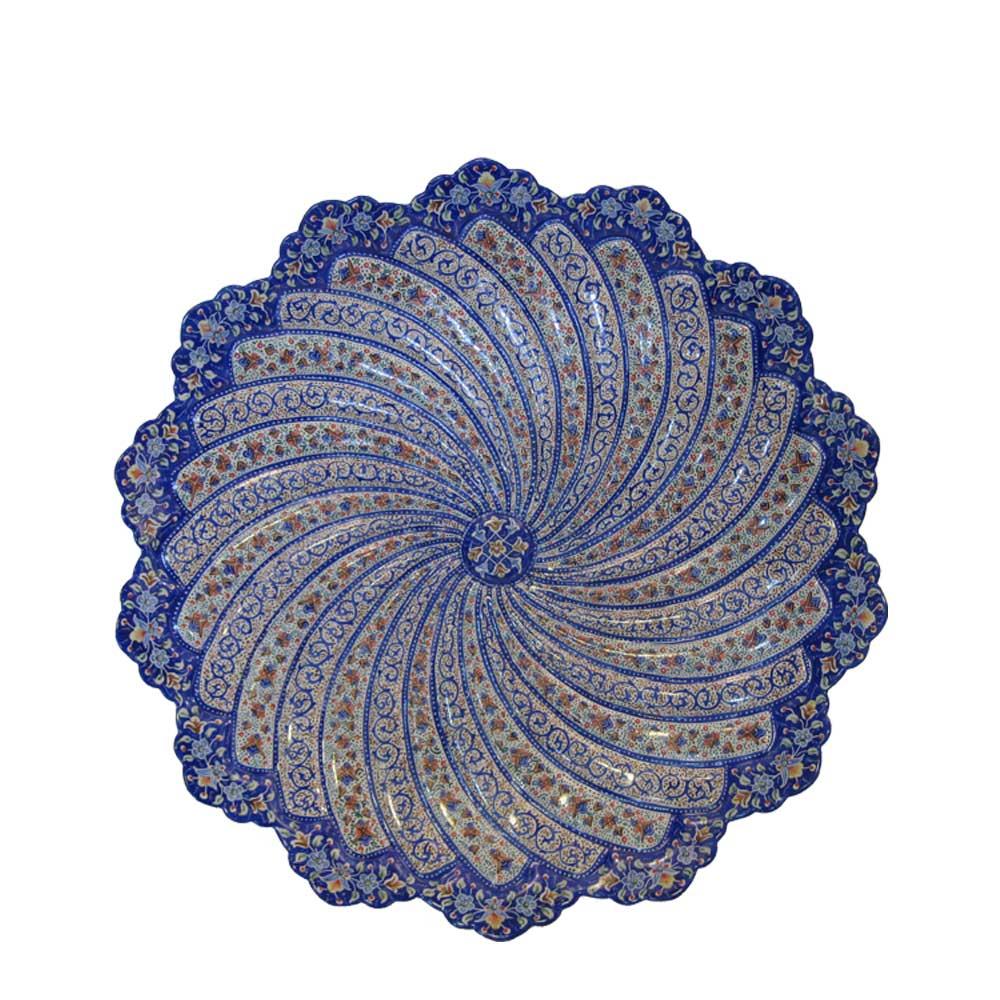 بشقاب مسی میناکاری اثر مرتضی اسماعیلی کد 01 قطر 30 سانتی متری