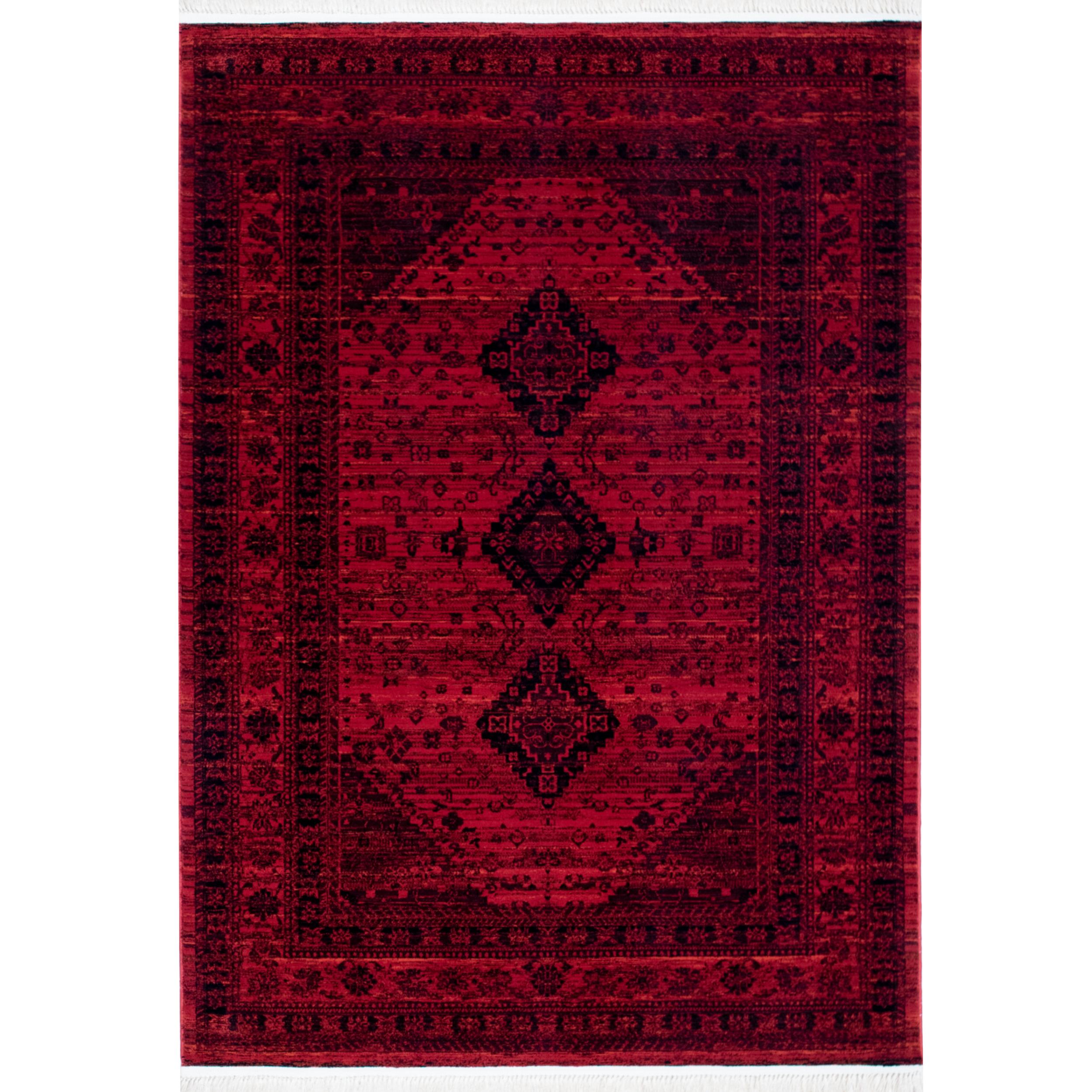 فرش ماشینی رادین طرح پتینه بلوچ 5 رنگ زمینه اناری