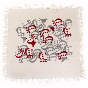 رومیزی چاپ دستی گالری گدار طرح چیدمان حروف