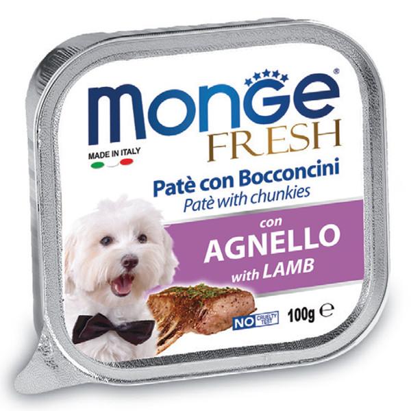 خوراک سگ مونگه مدل Pate & Chunks With Lamb-13055 با طعم بره وزن 100 گرم