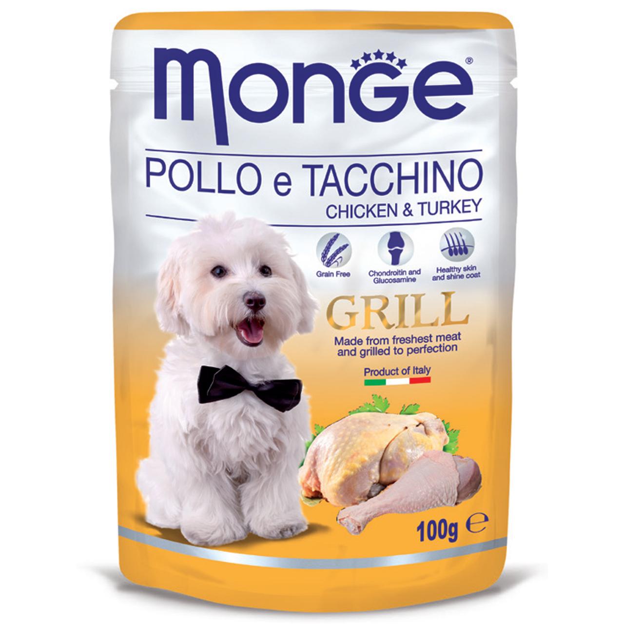 پوچ سگ مونگه مدل Pouch Chicken & Turkey-13116 با طعم مرغ و بوقلمون وزن 100 گرم