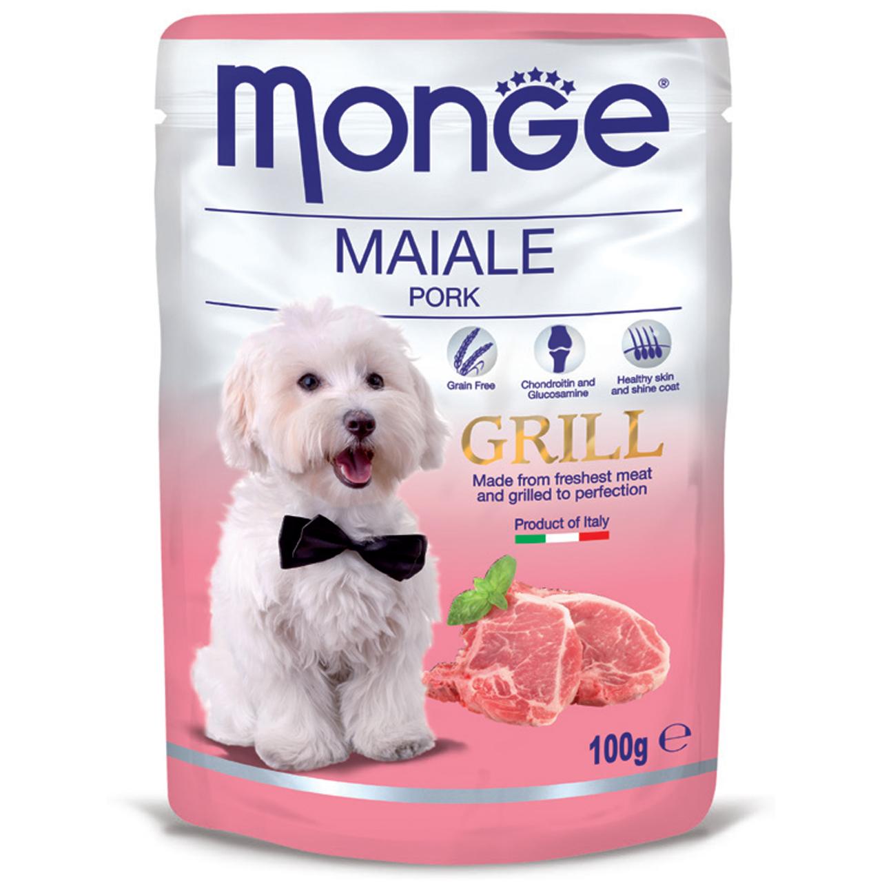 پوچ سگ مونگه مدل Pouch Pork-13147 با طعم گراز وزن 100 گرم