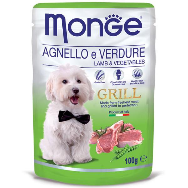 پوچ سگ مونگه مدل Pouch Lamb & Vegetables-13161 با طعم بره و سبزیجات وزن 100 گرم
