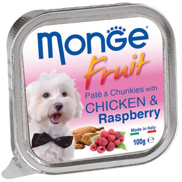 خوراک سگ مونگه مدل Pate & Chunks With Chicken & Raspberry-13215 با طعم مرغ و رَزبری وزن 100 گرم