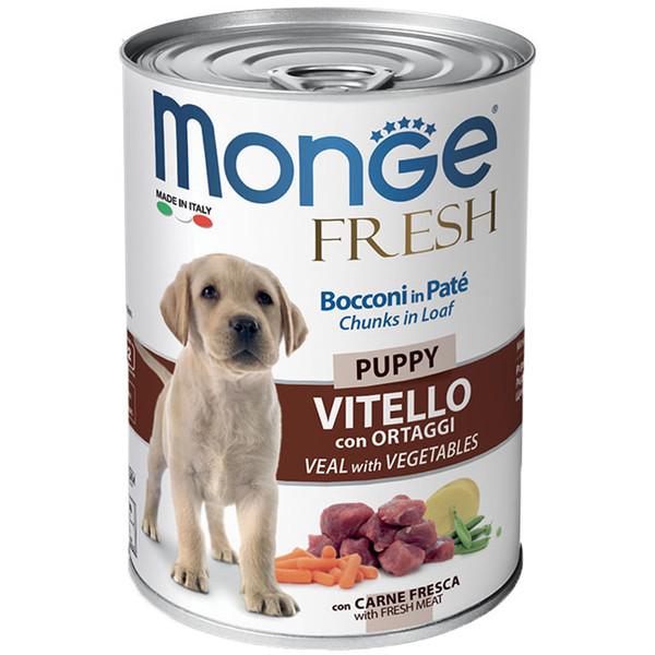 کنسرو سگ مونگه مدل Chunks Puppy Veal & Vegetables-14441 با طعم گوساله و سبزیجات وزن 400 گرم