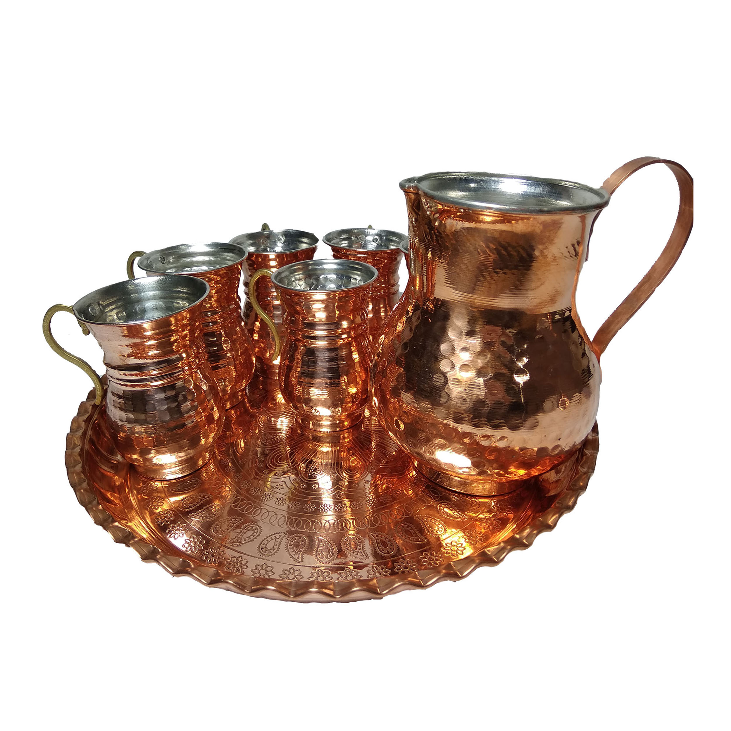copper jar and glasses, set of 8, code mk1