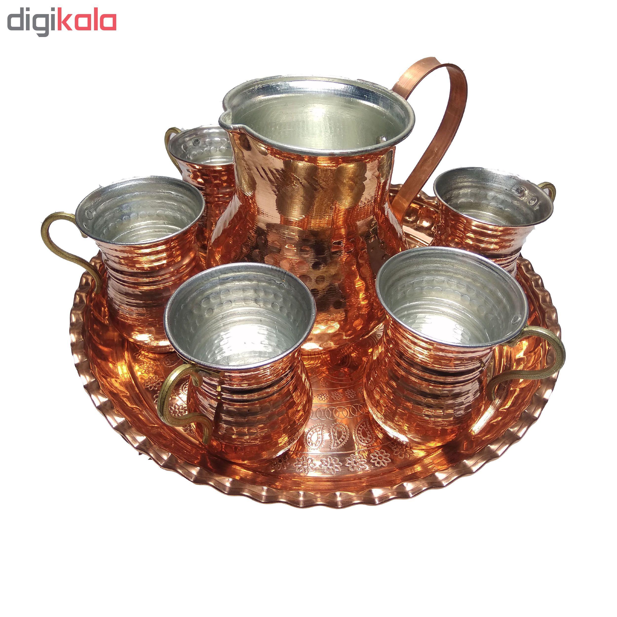 copper jar and glasses, set of 8, code mk1