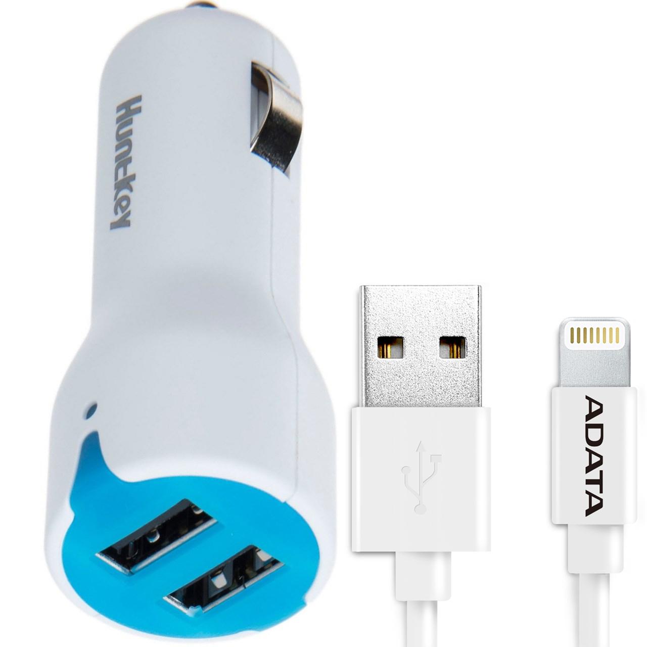 شارژر فندکی هانت کی مدل Carmate D203 همراه با کابل تبدیل USB به لایتنینگ ای دیتا مدل Sync And Charge طول 1 متر