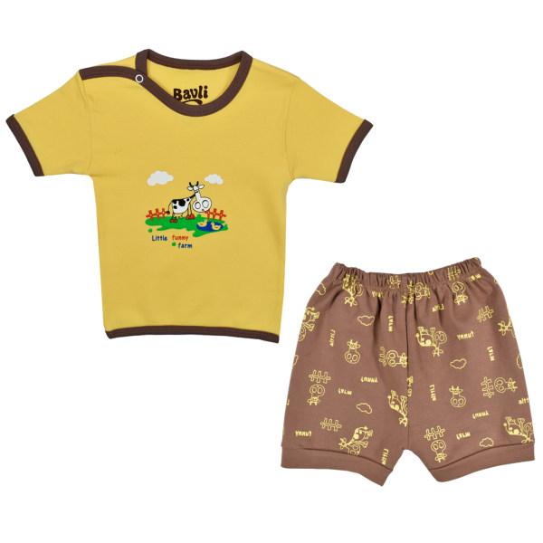 ست تی شرت و شلوارک نوزادی باولی مدل گاو کد 1