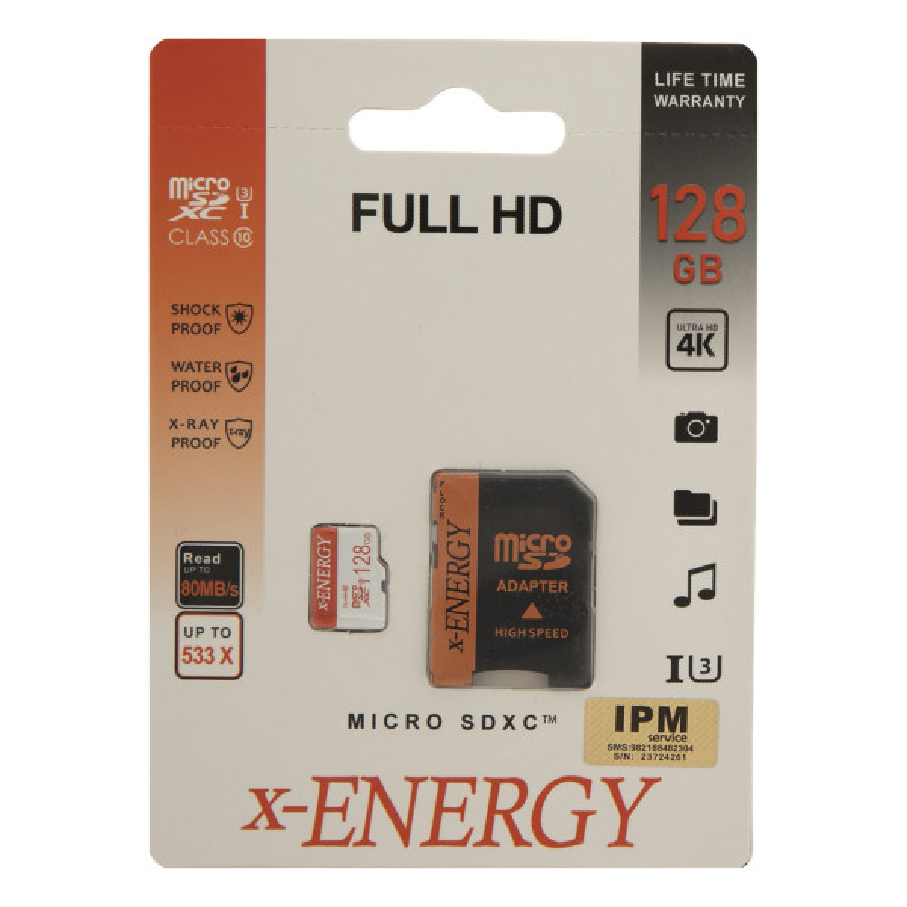 کارت حافظه microSDXC اکس-انرژی مدل IPM کلاس 10 استاندارد U3 سرعت 80MBps همراه با آداپتور SD ظرفیت 128 گیگابایت
