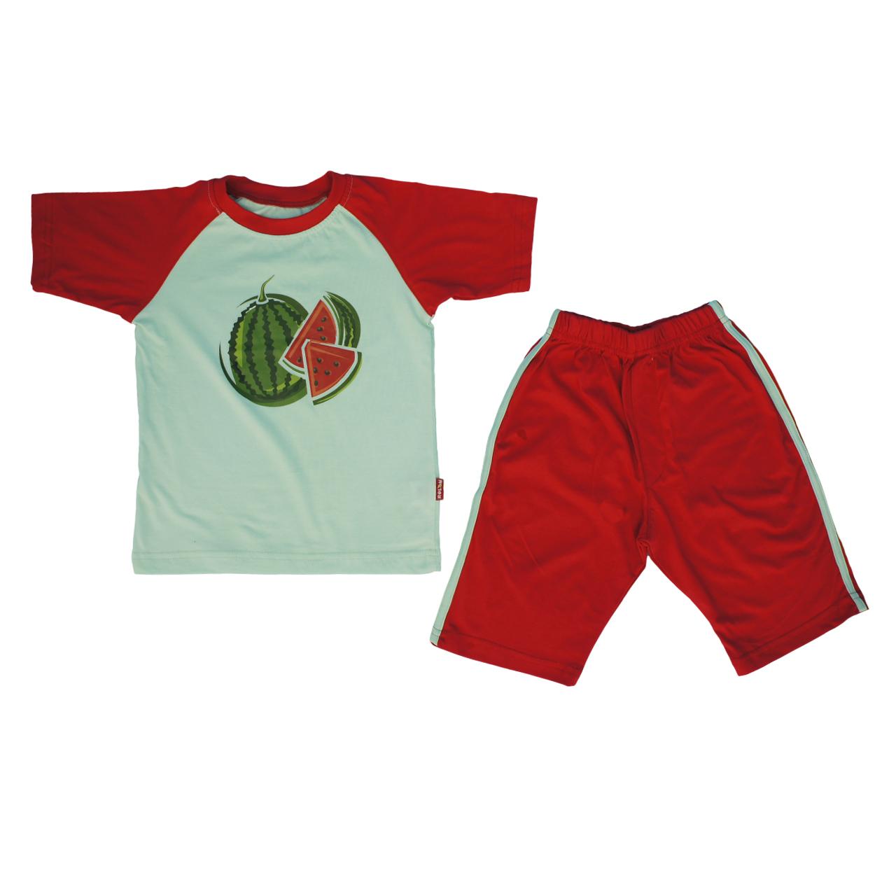 ست دو تکه لباس کودک  رولان طرح هندوانه کد 014