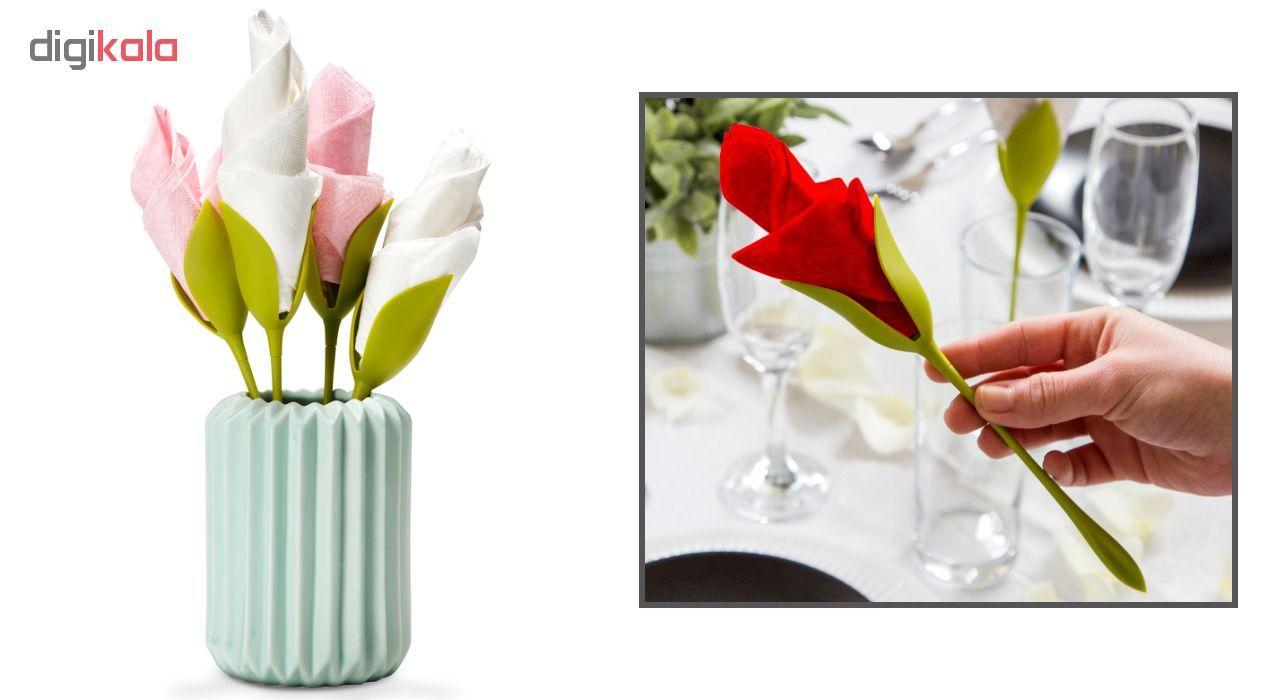 نگهدارنده دستمال سفره طرح گل رز بسته 4 عددی main 1 2