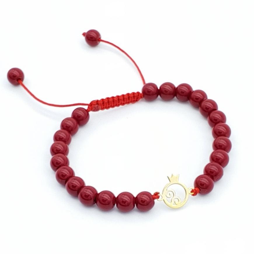 دستبند طلا 18 عیار بهگلد طرح انار مدل BG
