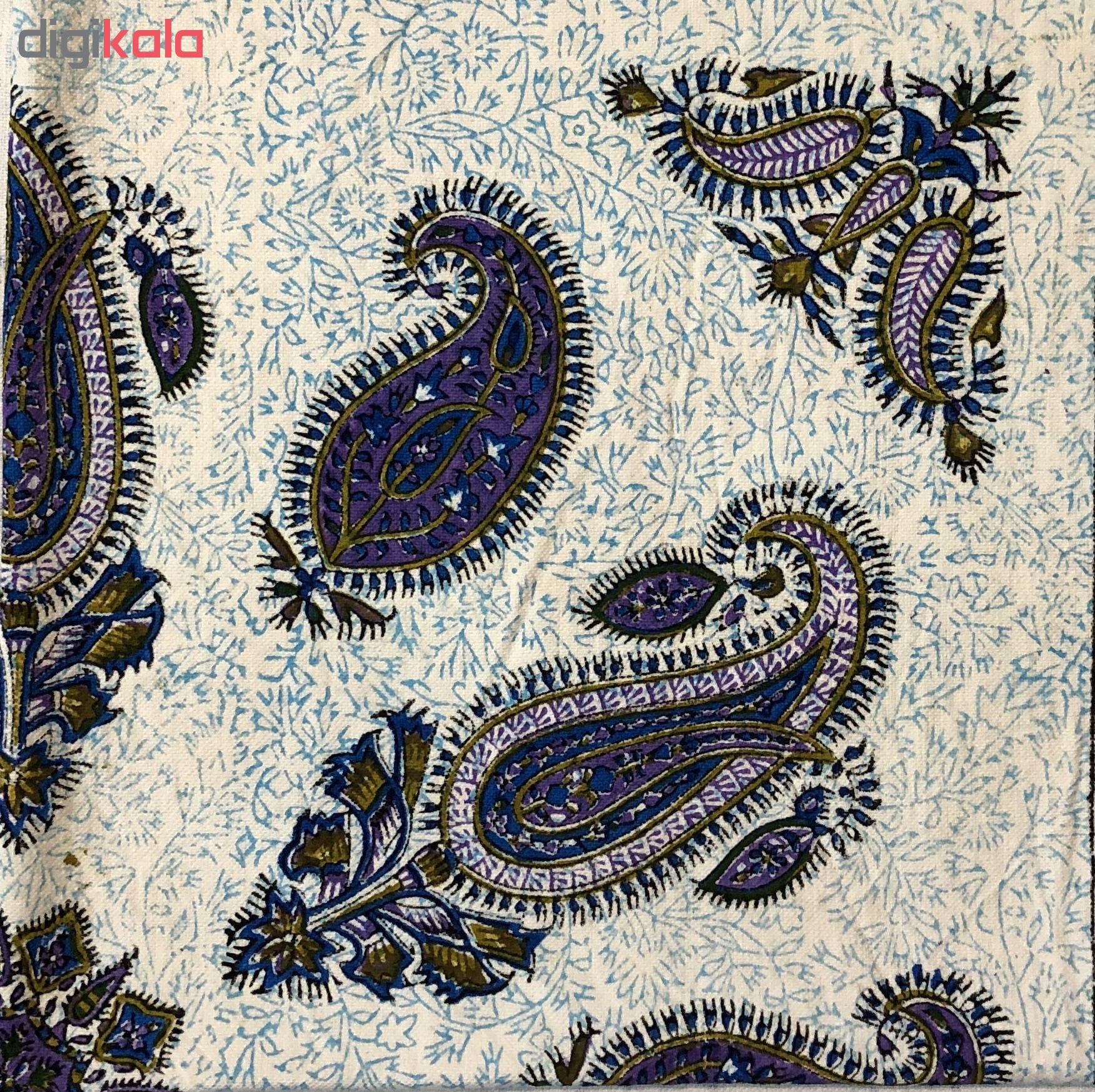 رومیزی قلمکار ممتاز اصفهان اثر عطريان طرح بته جقه یاسی مدل G134سایز 80*80