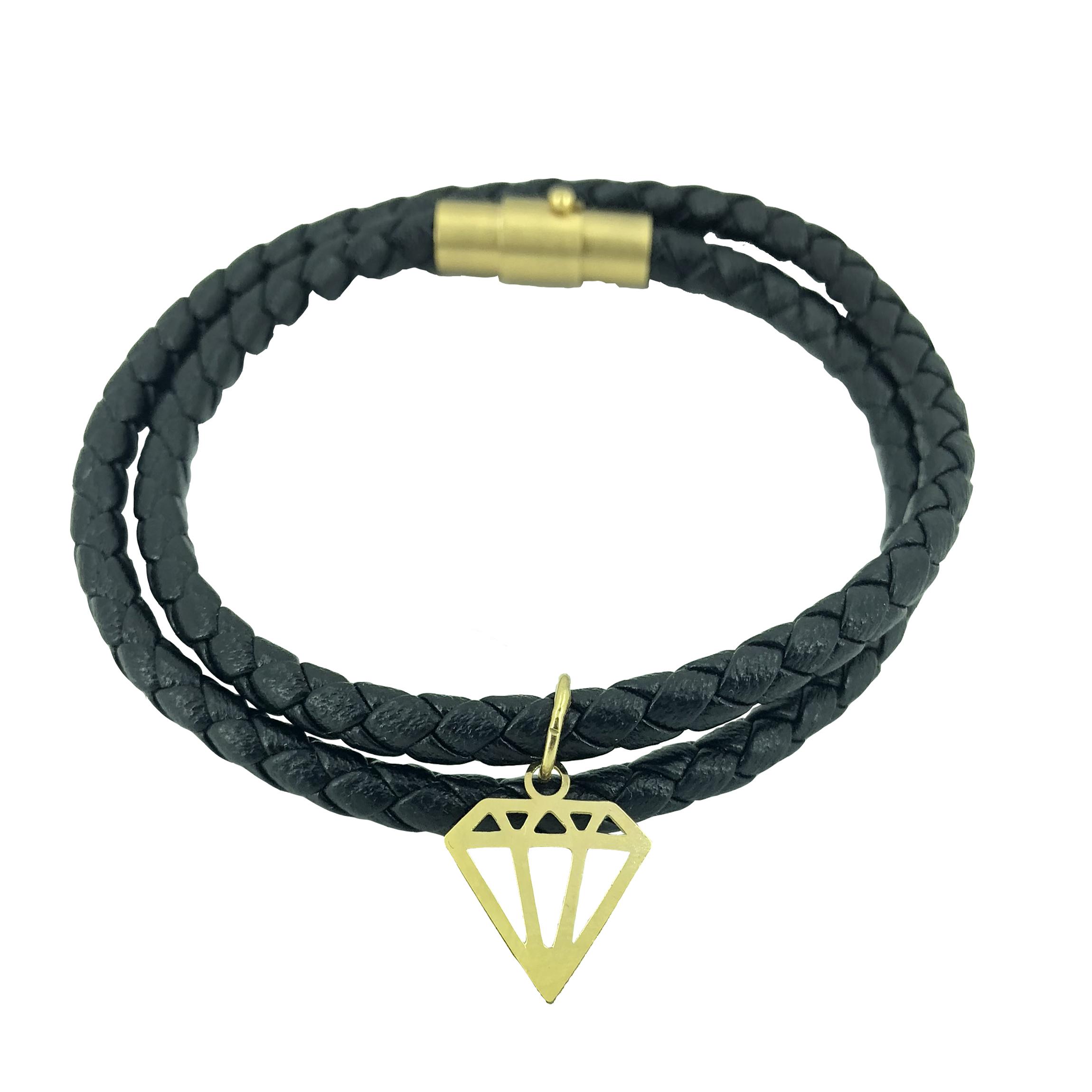 دستبند طلا 18 عیار طرح الماس مدل G308
