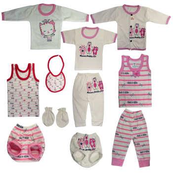 ست 10 تکه لباس نوزادی نی نی مامانی مدل SARA01 |