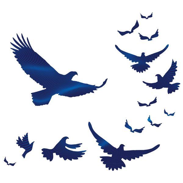 استیکر دیواری صالسو آرت طرح escape blue birds hk