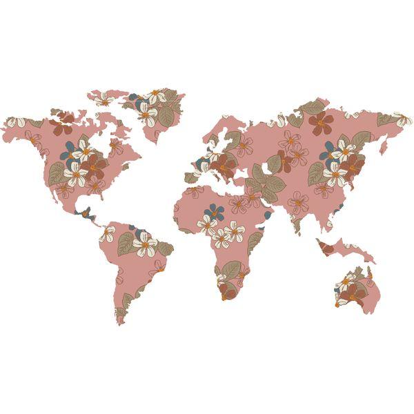 استیکر دیواری صالسو آرت طرح pink flower map hk