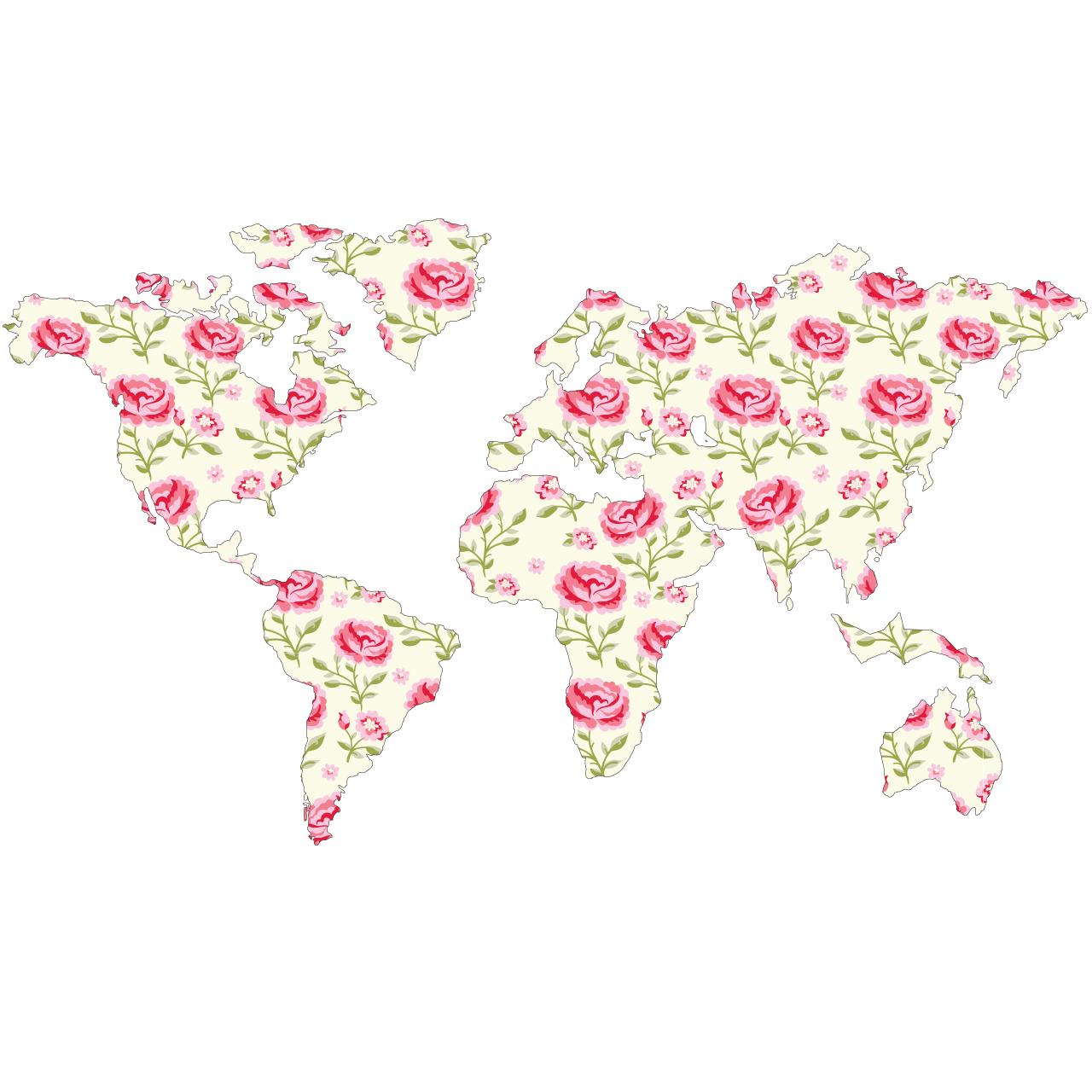 استیکر دیواری صالسو آرت طرح peony pink map hk