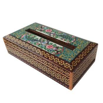 جعبه دستمال کاغذی خاتم کاری طرح گل و مرغ مدل گلسار کد G-1144