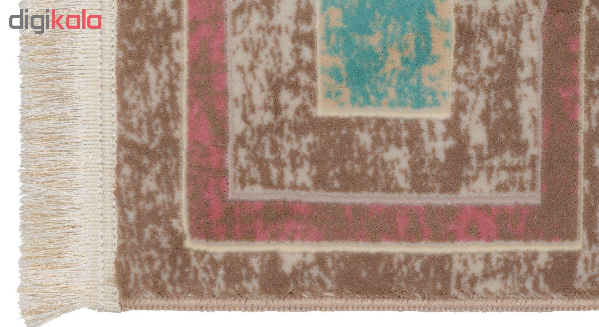 فرش ماشینی دنیای فرش  گل برجسته کد 201  کرم