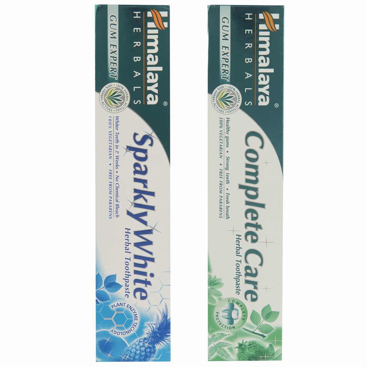 خرید                      پک خمیر دندان گیاهی هیمالیا مدل  Complete Care و Sparkly White حجم 75 میلی لیتر - بسته 2 عددی