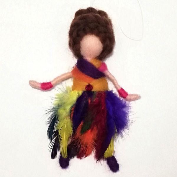 عروسک تزئینی مدل پری بنفشه ارتفاع 16 سانتی متر