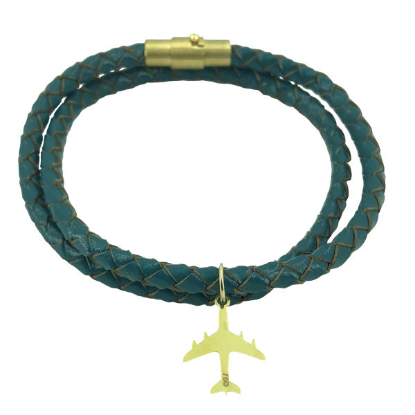 دستبند طلا 18 عیار طرح هواپیمامدل G311