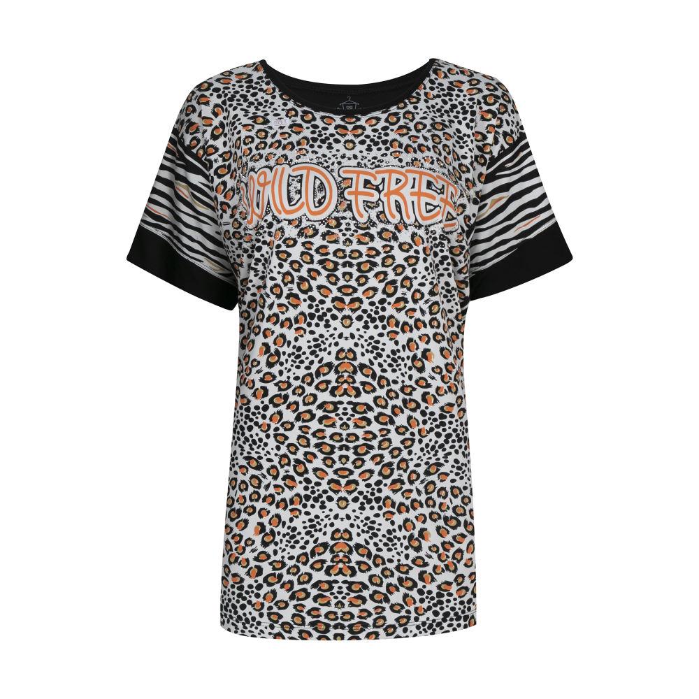 تی شرت آستین کوتاه زنانه فمیلی ور طرح پلنگی کد 172 رنگ مشکی