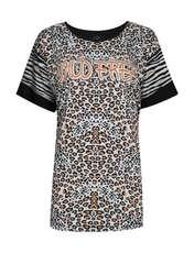 تی شرت آستین کوتاه زنانه فمیلی ور طرح پلنگی کد 172 رنگ مشکی -  - 1