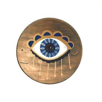 بشقاب دیوارکوب سفالی مدل چشم نظر