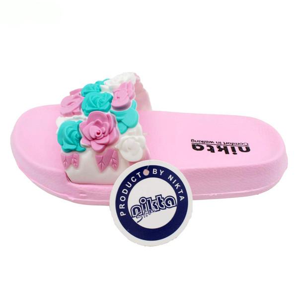 دمپایی دخترانه نیکتا مدل گل کد 03-397 رنگ صورتی