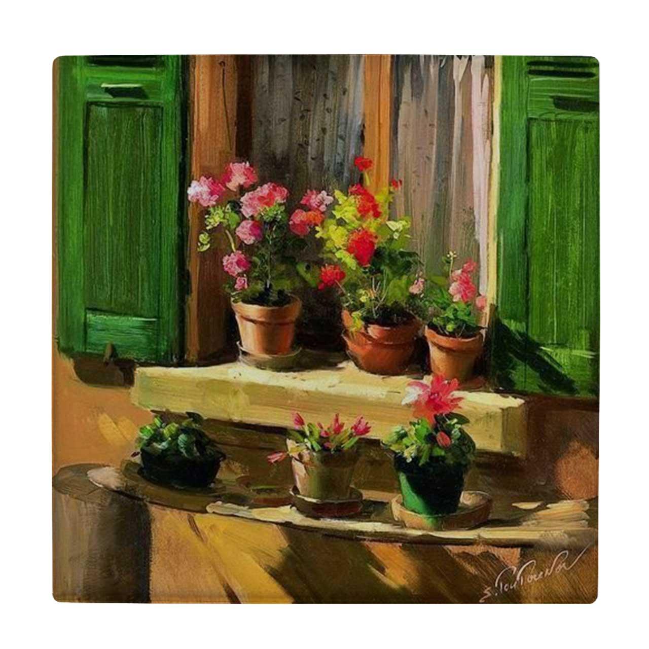 خرید                      کاشی طرح گلدان های لب پنجره کد wk647