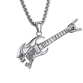 گردنبند مردانه طرح گیتار راک مدل 4344
