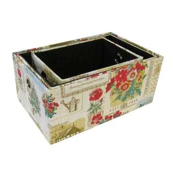 جعبه ارگانایزر هوم اند لایف مدل مارین طرح گل و پروانهمجموعه 3 عددی