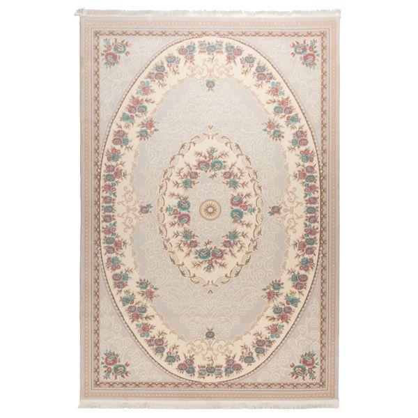 فرش ماشینی دنیای فرش  گل برجسته کد 236  کرم