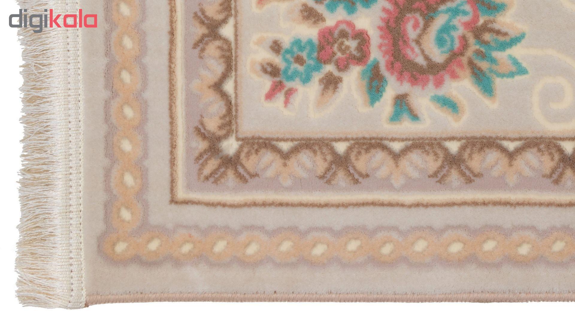 فرش ماشینی دنیای فرش  گل برجسته کد 236  کرم thumb 2 3