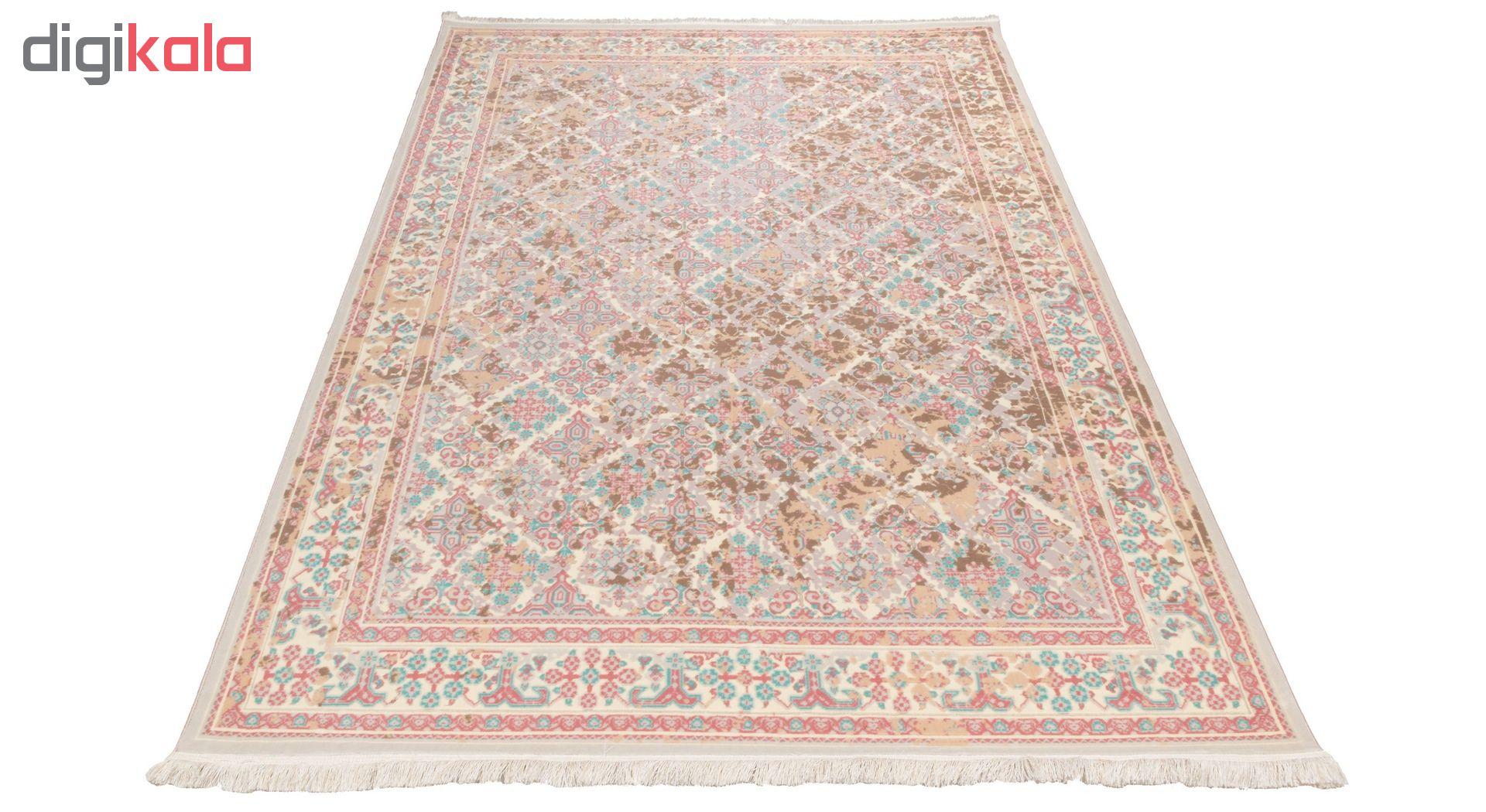 فرش ماشینی دنیای فرش  گل برجسته کد 237  کرم