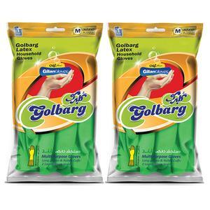 دستکش آشپزخانه دستکش گیلان مدل گلبرگ ساق بلند سایز متوسط بسته 2 جفتی