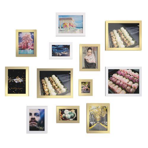 قاب عکس AVZ مدل GOLD مجموعه 12 عددی 8 عدد قاب طلایی 4 عدد قاب سفید