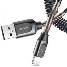 کابل تبدیل USB به لایتنینگ باسئوس مدل Datacabel Base Dual Spring USB طول 1.2 متر