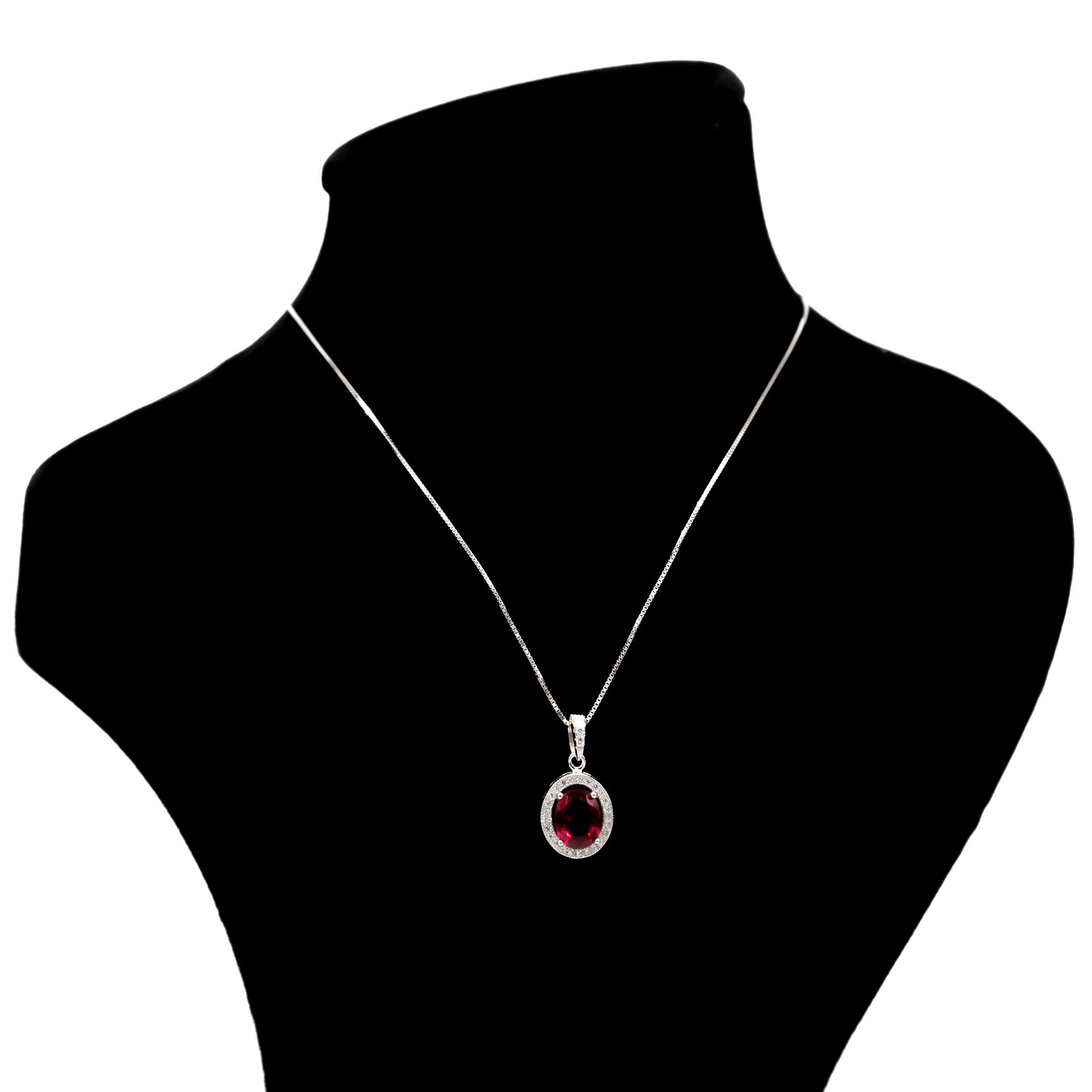 عکس گردنبند نقره بهارگالری مدل Oval Jewel کد 405015
