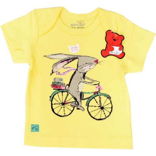 تی شرت آستین کوتاه شابن طرح خرگوش و دوچرخه