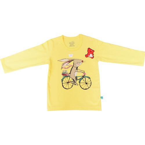 تی شرت آستین بلند نوزادی شابن طرح خرگوش و دوچرخه
